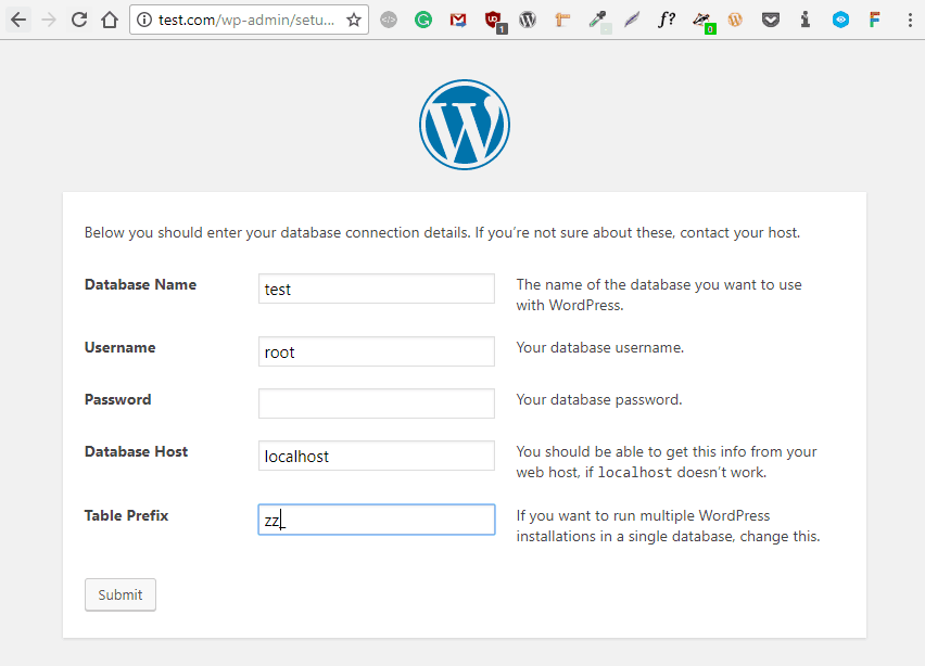 laracon entering wordpress database info