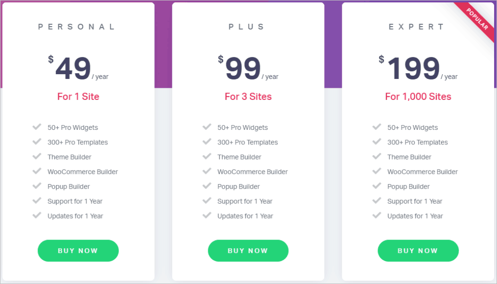 Elementor Pricing