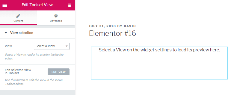toolset views widget interface