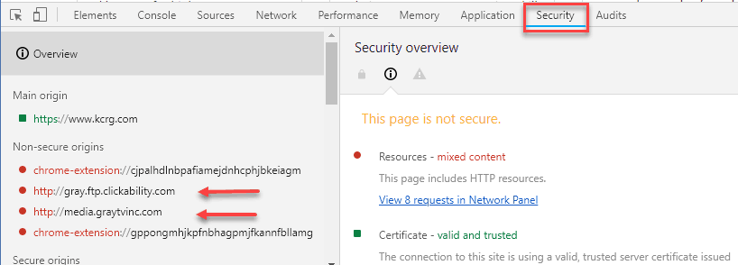 chrome security panel