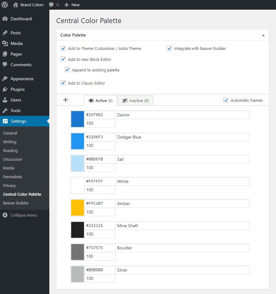 central color palette colors entered