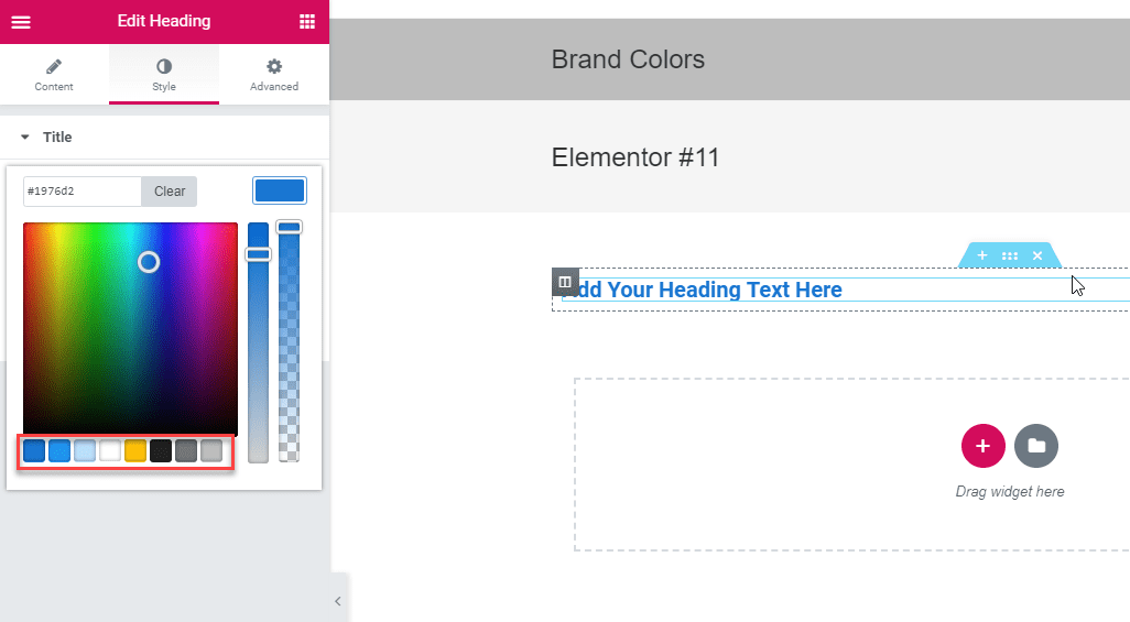 central color palette elementor page builder