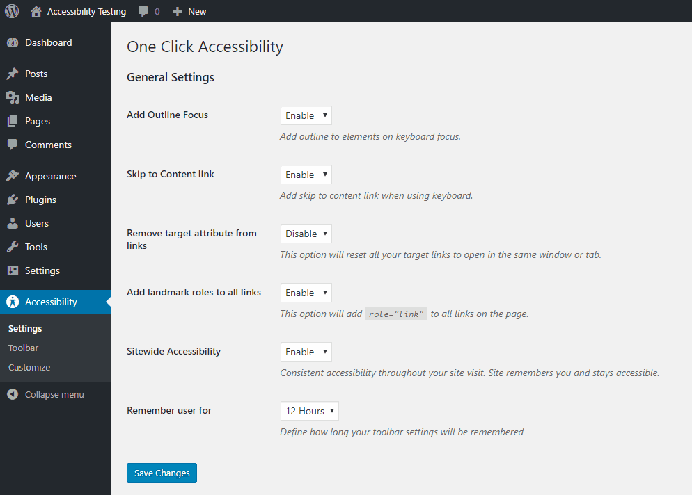 one click accessibility settings menu