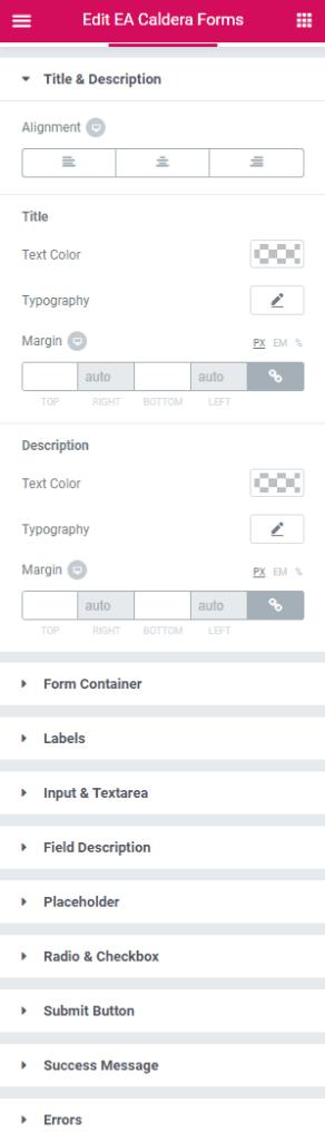 Essential Addons Caldera Forms widget - Style tab