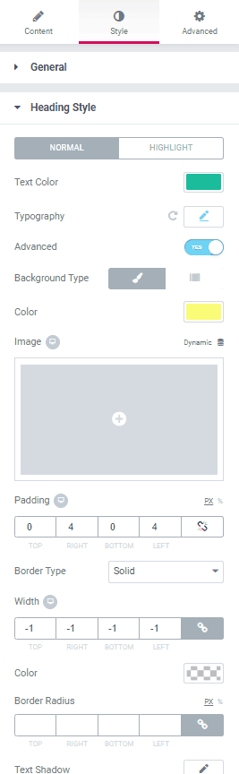 Ultimate Addons Dual Color Heading - Style Tab