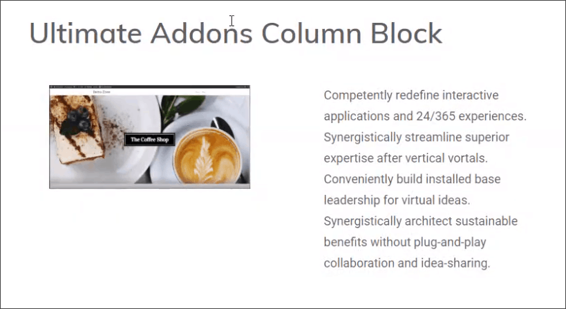 ultimate addons for gutenberg columns block