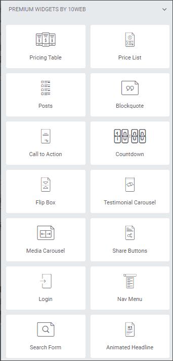 10Web Elementor widgets