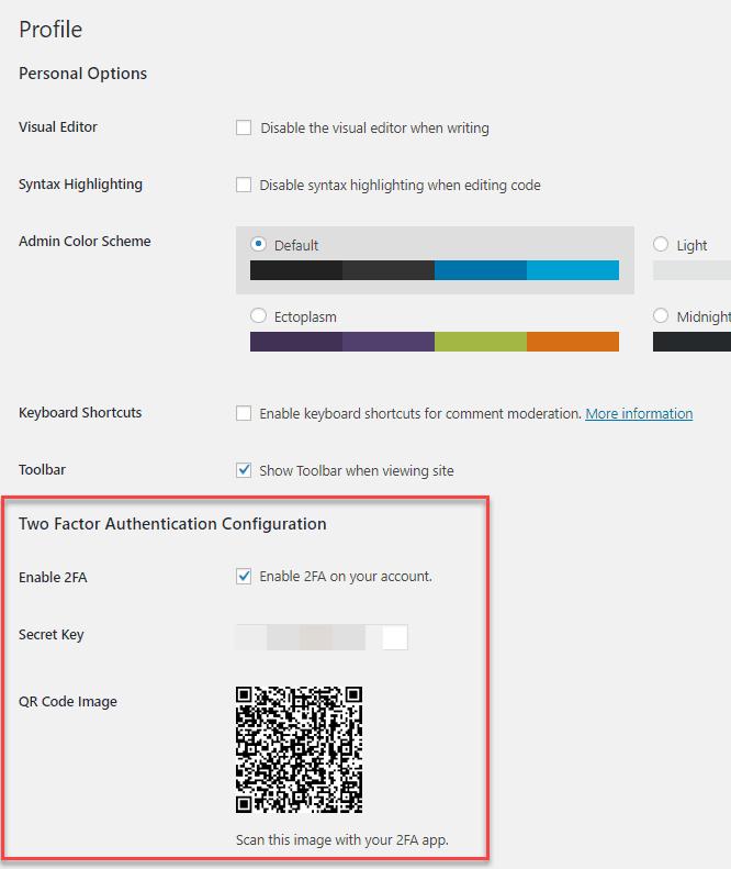 webarx plugin adding 2FA