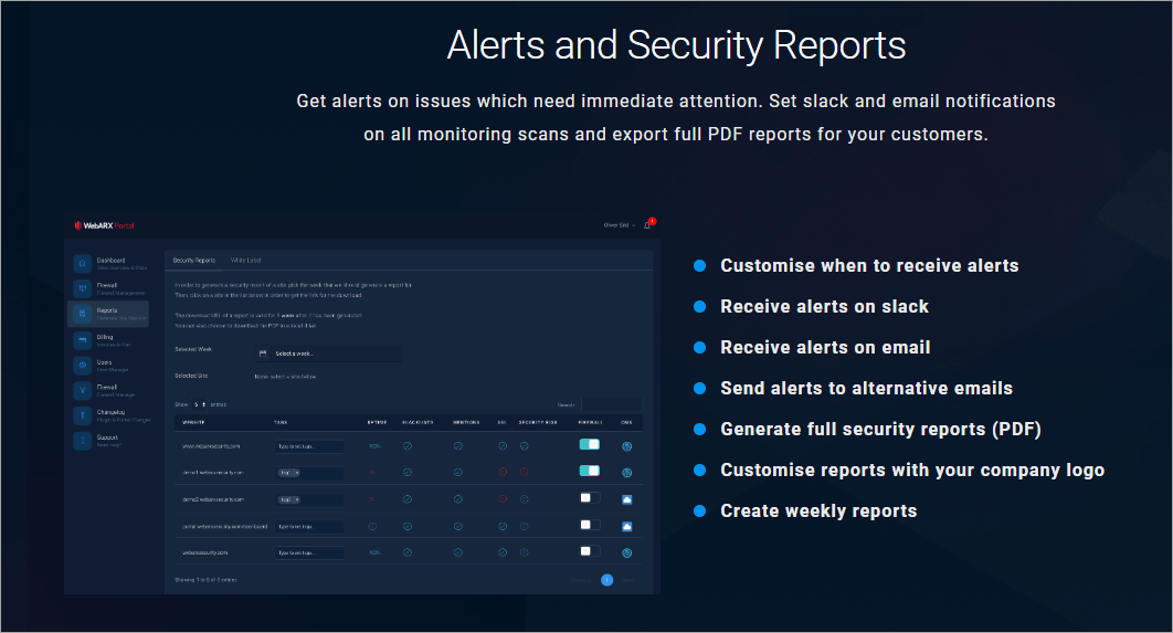 webarx features alerts
