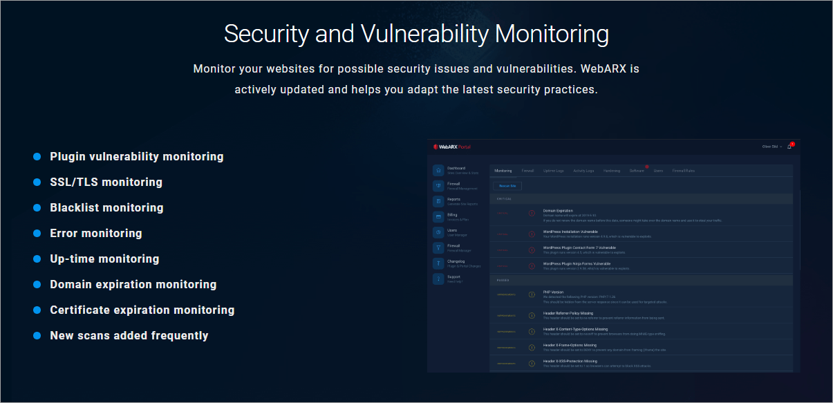 webarx features monitoring