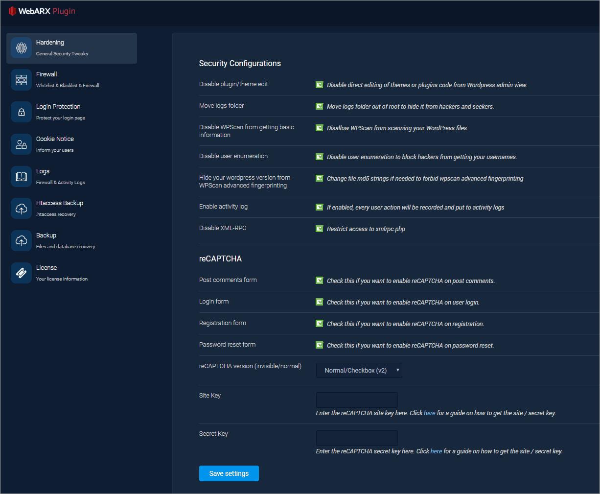 webarx plugin hardening