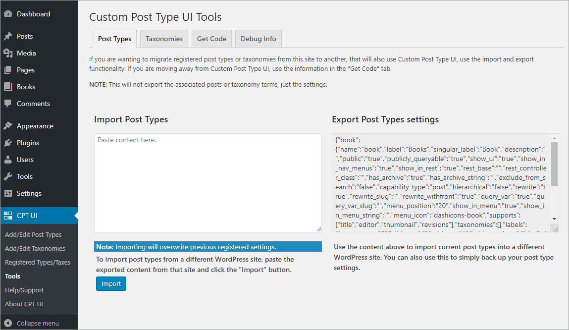 CPT UI Tools - Post Types tab