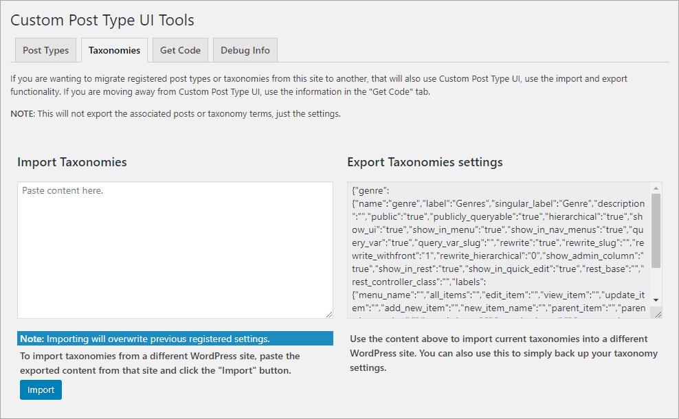 CPT UI Tools - Taxonomies tab
