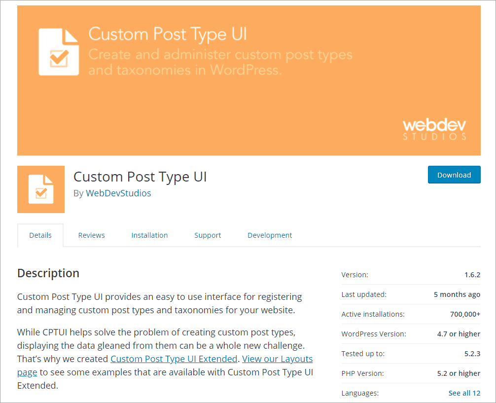 CPT UI on WordPress.org