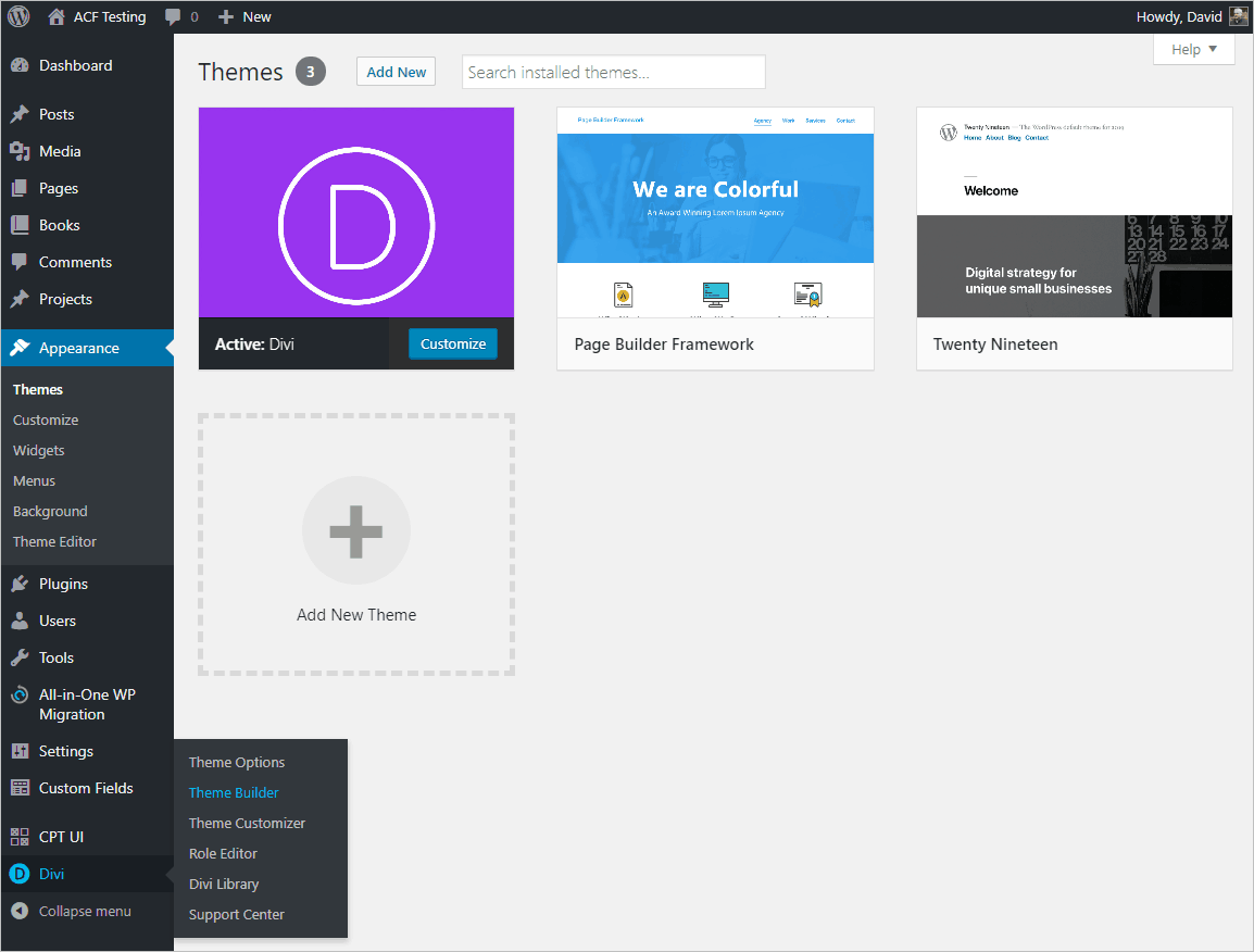 new divi theme builder menu