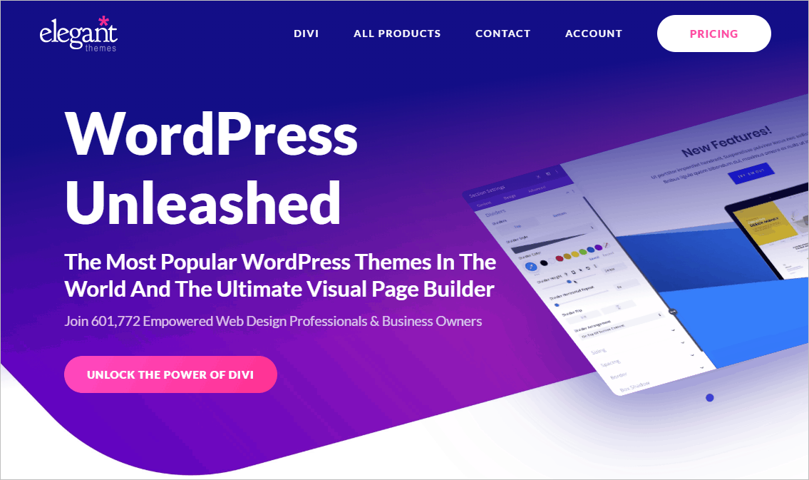 elegant themes home page