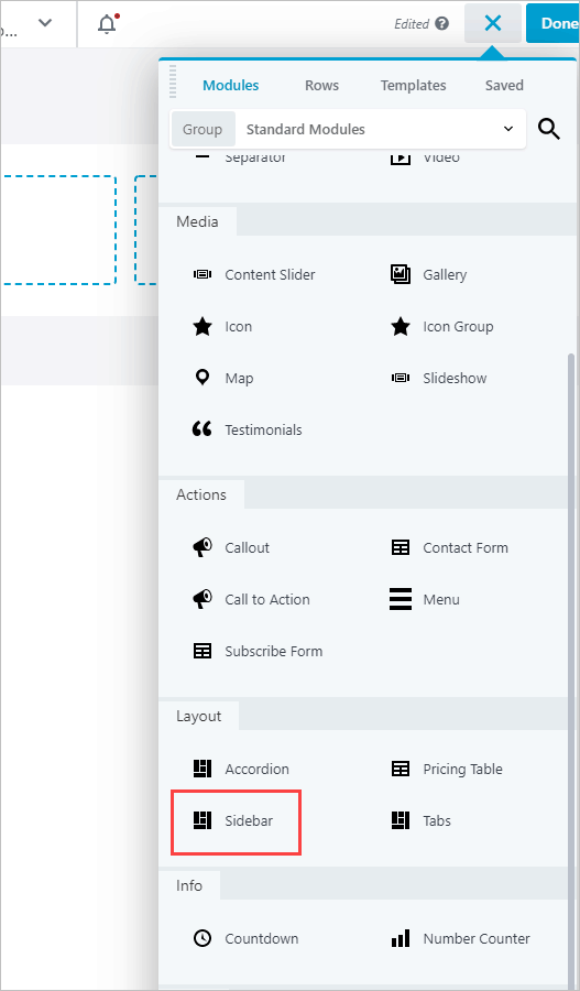 module list sidebar module