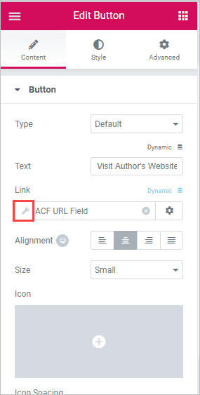 acf url field wrench icon