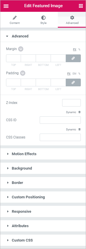 featured image advanced settings