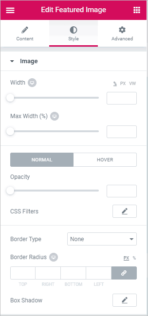 featured image style settings