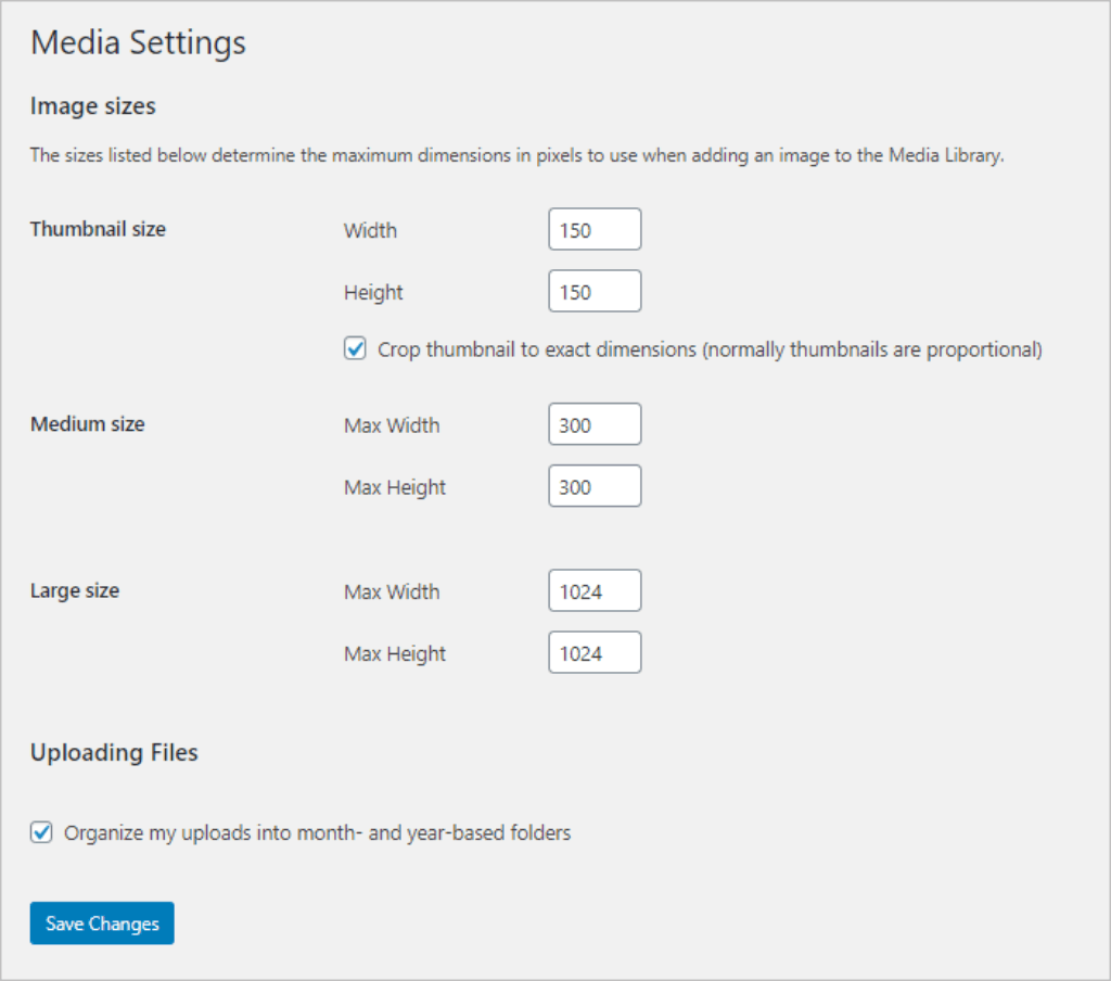 Default Media Settings
