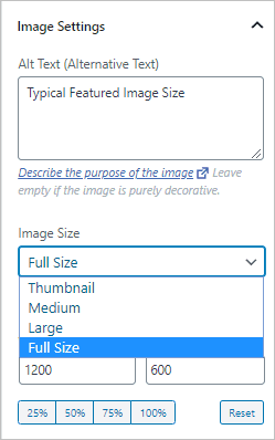 Image Size Options In The Post Editor
