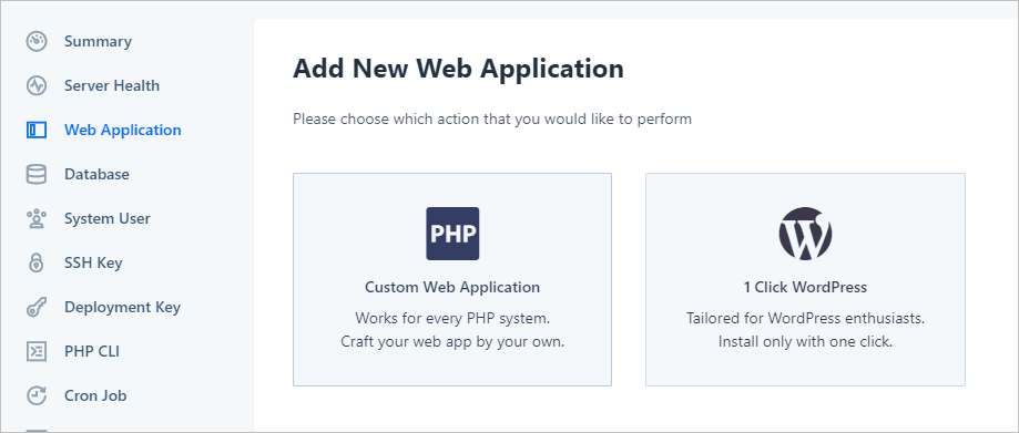Runcloud Create New Webapp Options