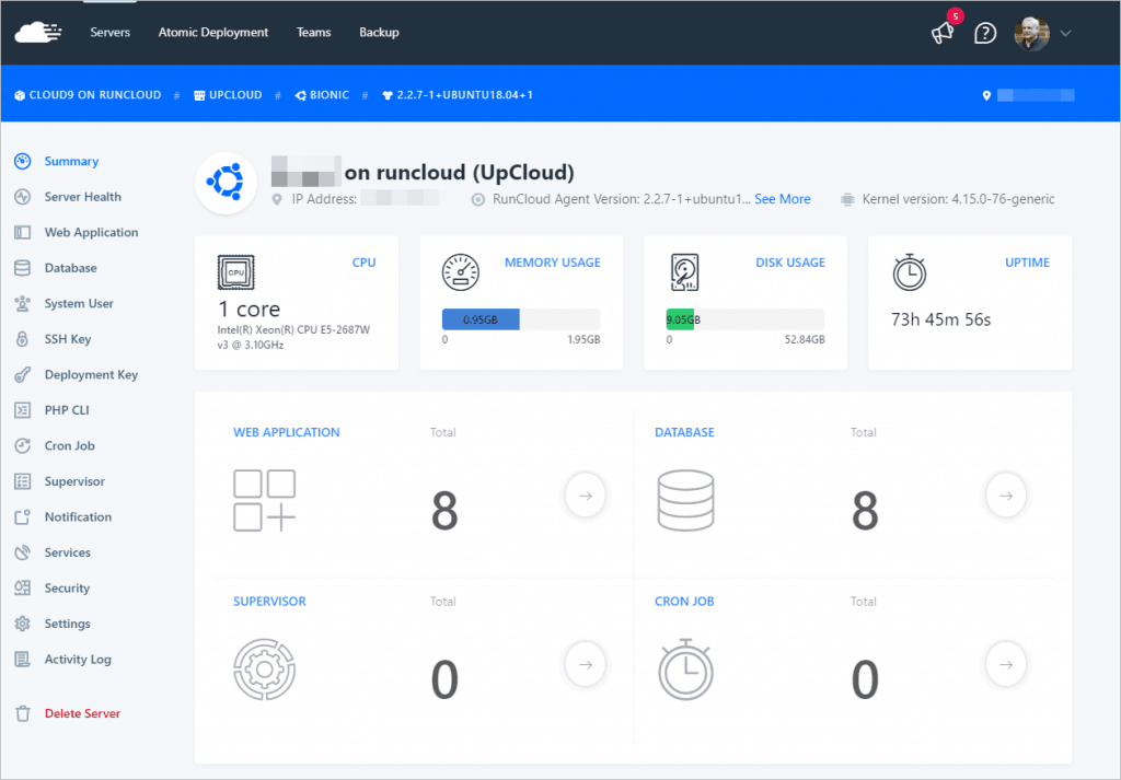 Runcloud Server Dashboard
