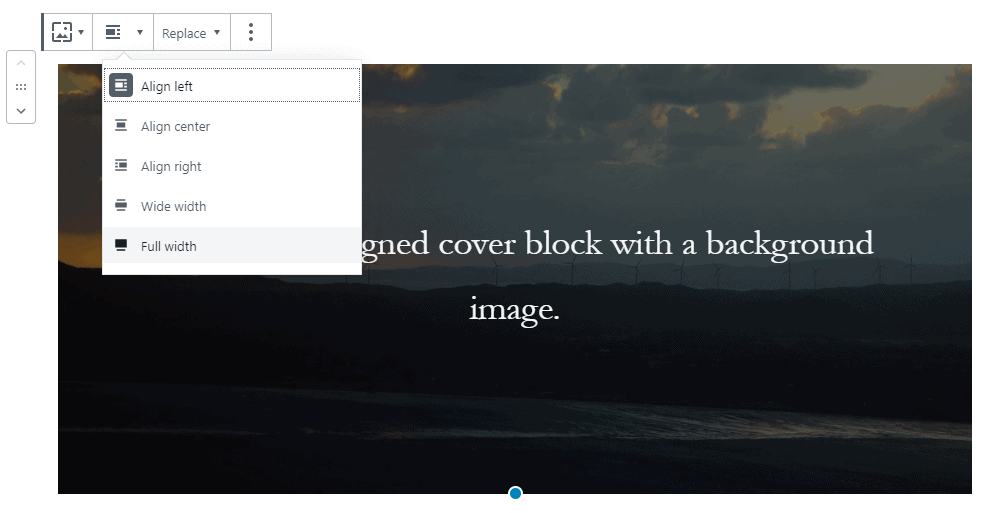 Gutenberg Cover Block Alignment Settings