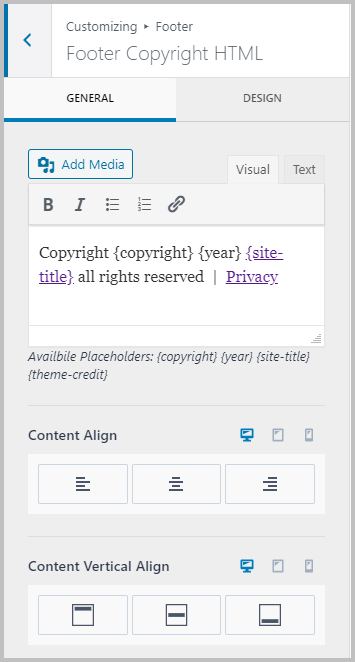Footer Copyright Settings