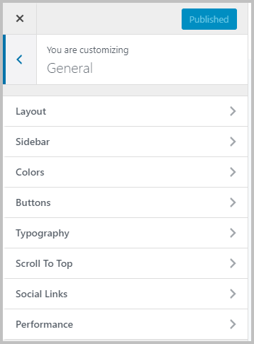 Kadence General Customizer Settings