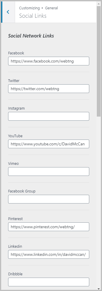 Social Links Settings