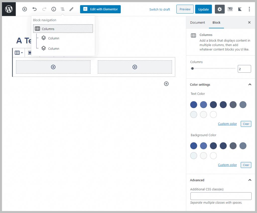 Block Navigator Showing Colums Block Hierarchy