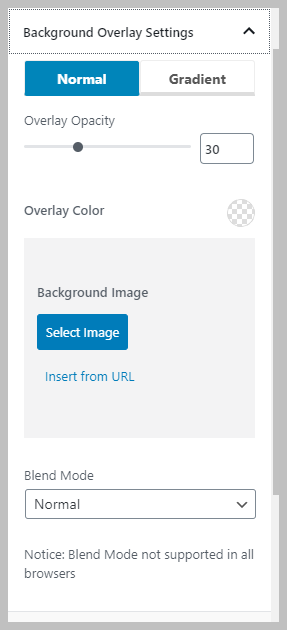 Normal Background Overlay Settings