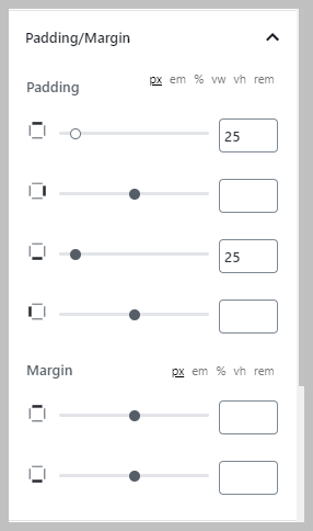 Padding And Margin Settings