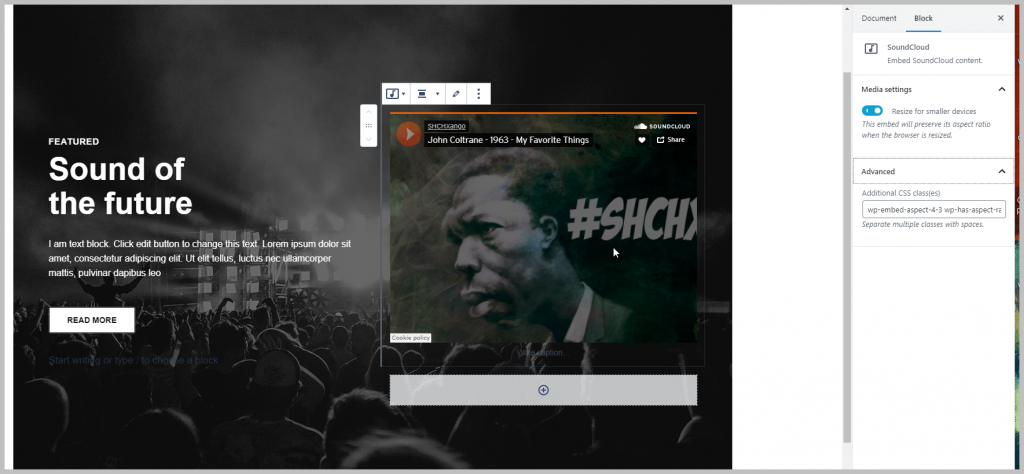 Result Using Default Soundcloud Embed