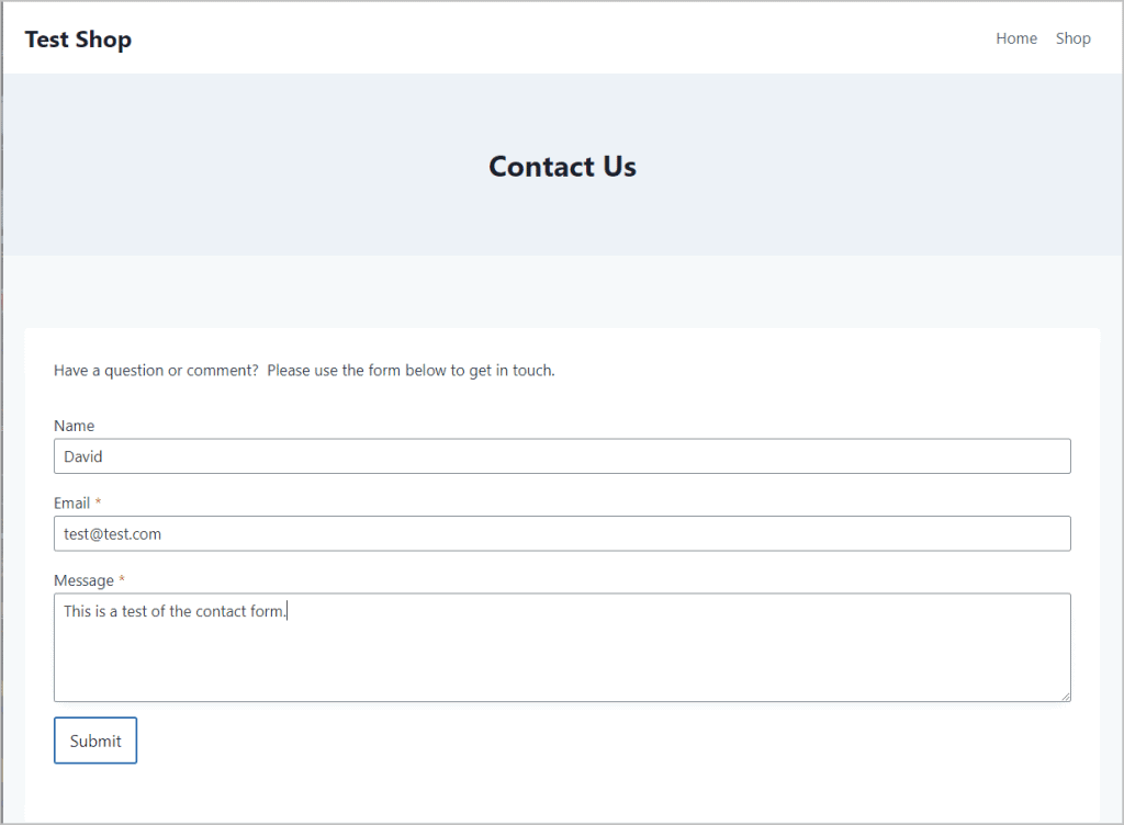 Filling Out The Contact Form