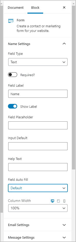 Individual Form Field Settings