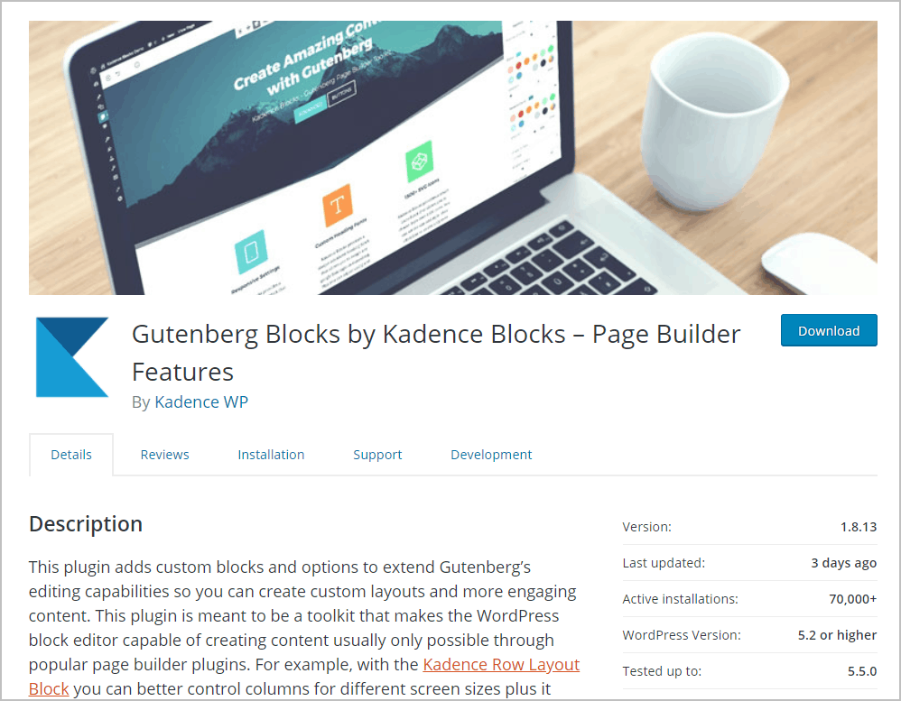Kadence Blocks Free