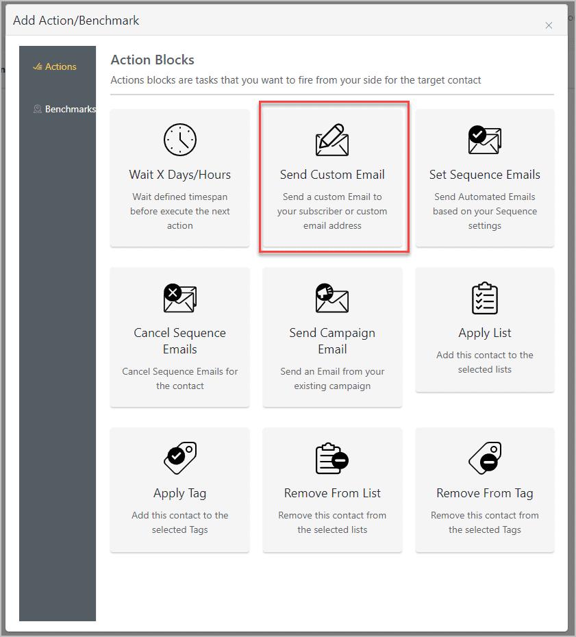 Action Blocks Send Custom Email