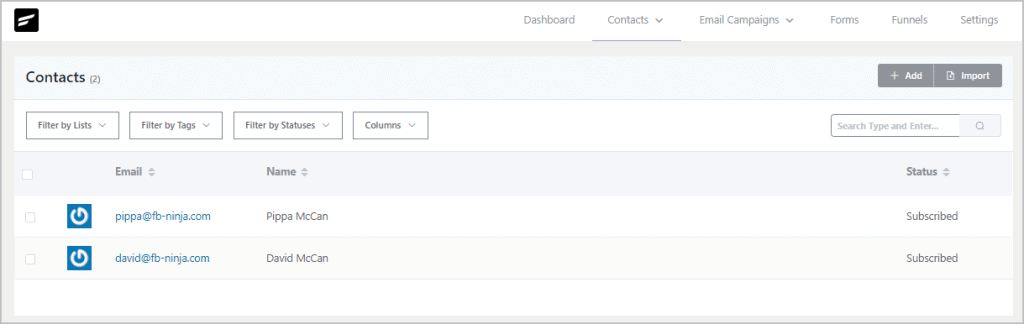 Fluentcrm Contacts View
