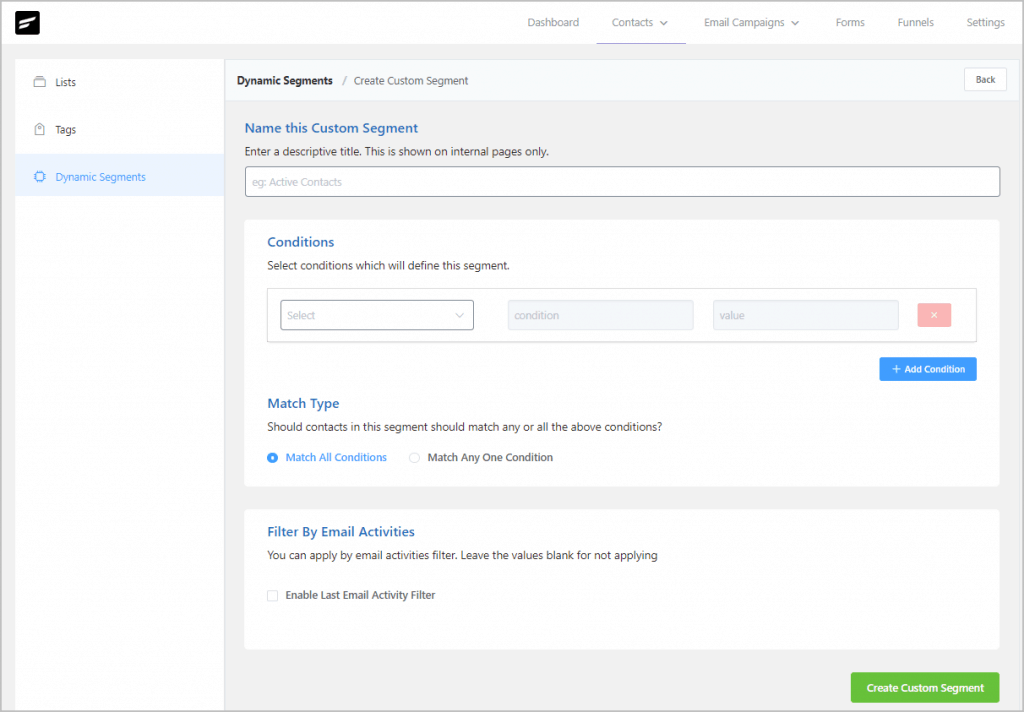 Fluentcrm Create Custom Segments View