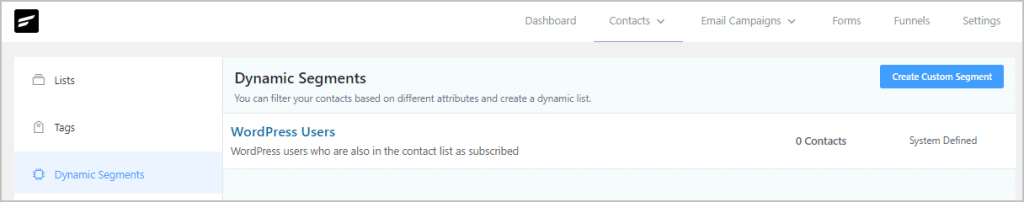 Fluentcrm Dynamic Segments View