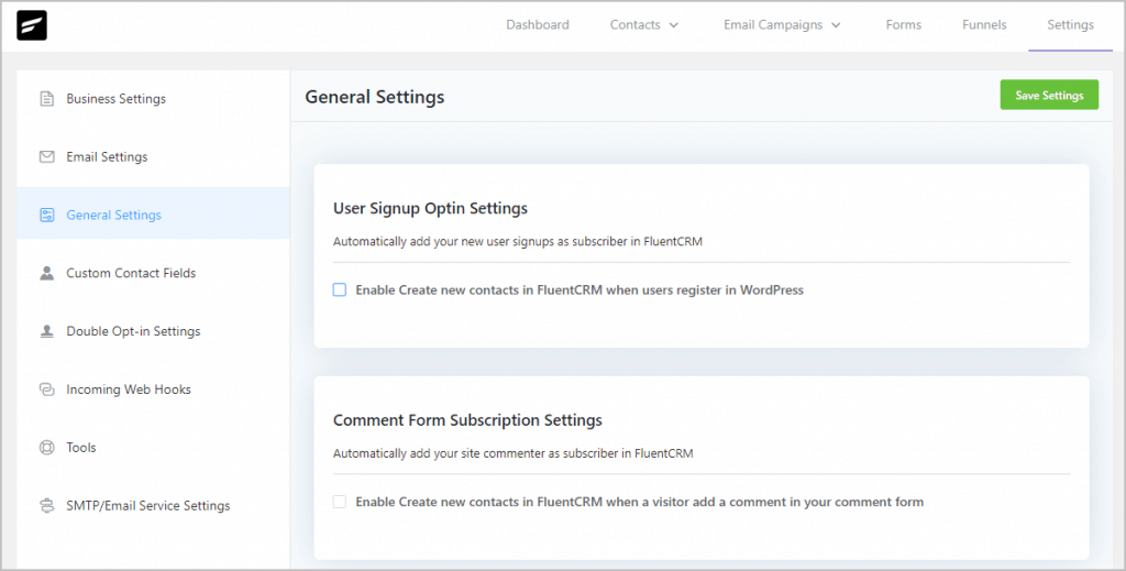 Fluentcrm Settings General