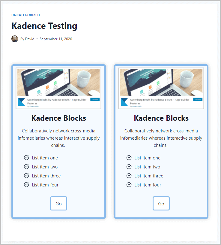 Kadence Example Front End