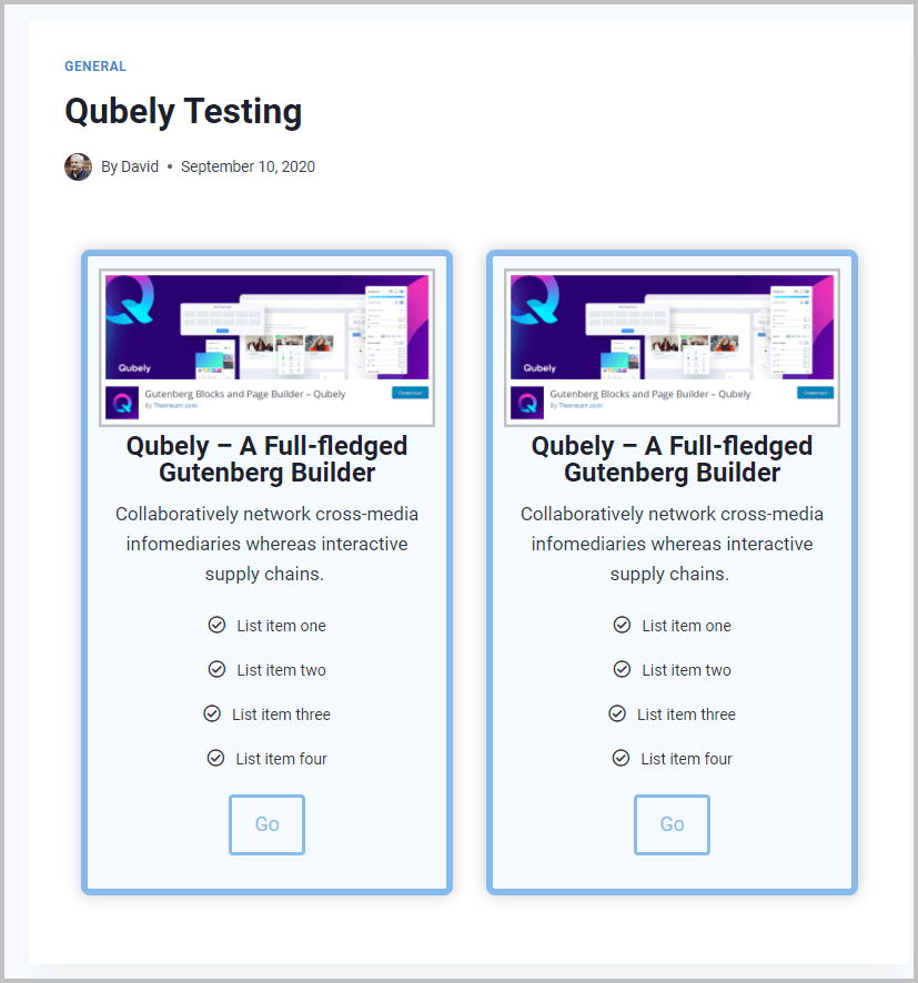 Qubely Test Final On Front