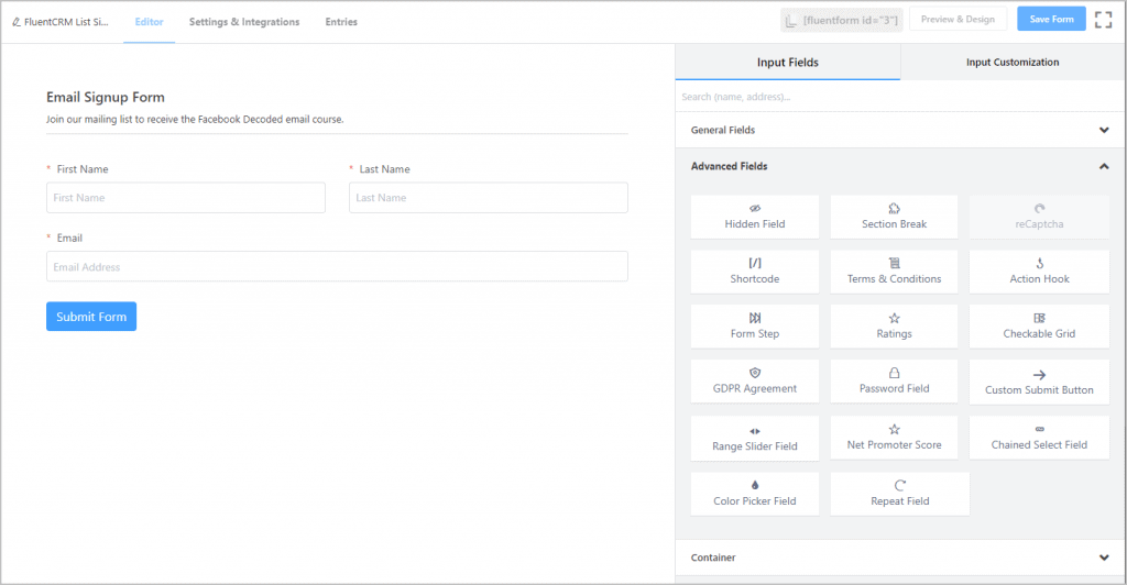 Simple Email Signup Form