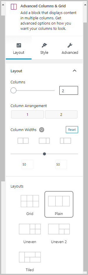 Stackable Advanced Columns Block Layout Tab