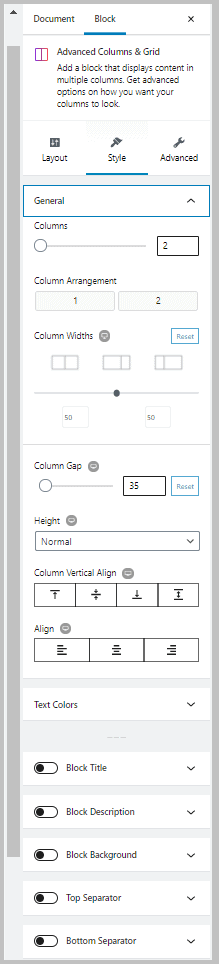 Stackable Advanced Columns Block Style Tab