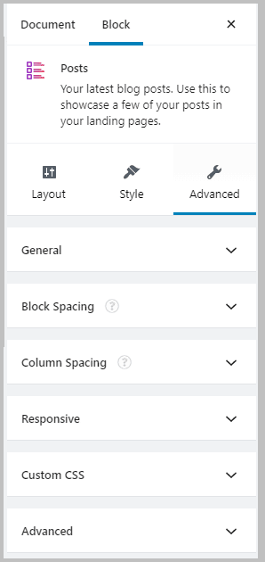 Stackable Posts Block Advanced Options